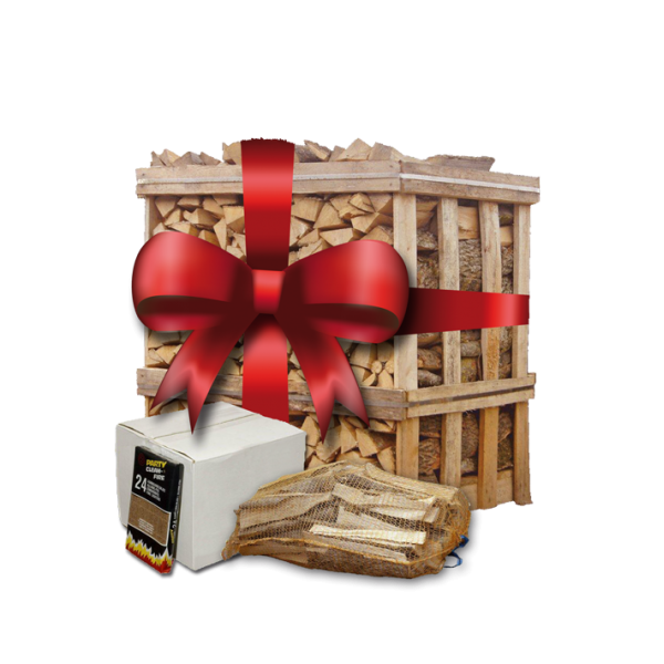 Kerstpallet   ca. 500 blokken berkenhout   5 zakken aanmaakhout   omdoos aanmaakblokjes