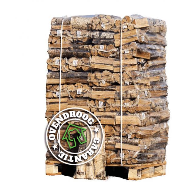 Pallet ovengedroogd berkenhout in 66 netzakken